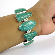 Catching!! 925 Sterling Silver Amazonite Bracelet