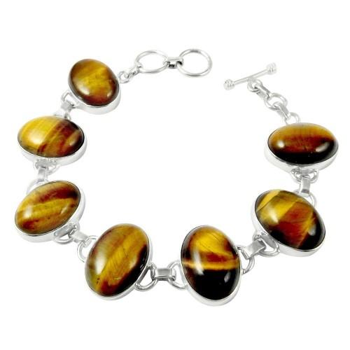 Interesting!! 925 Sterling Silver Tiger Eye Bracelet