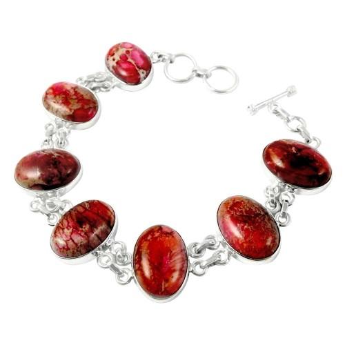 Nice!! 925 Sterling Silver BEAUTIFUL NATURE JASPER Bracelet