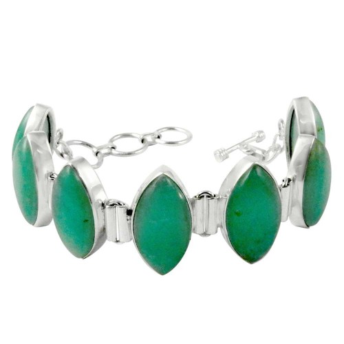 Ornate!! 925 Sterling Silver GREEN ONYX Bracelet