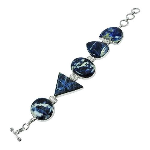 925 Sterling Silver Jewelry High Polish Sodalite Gemstone Bracelet