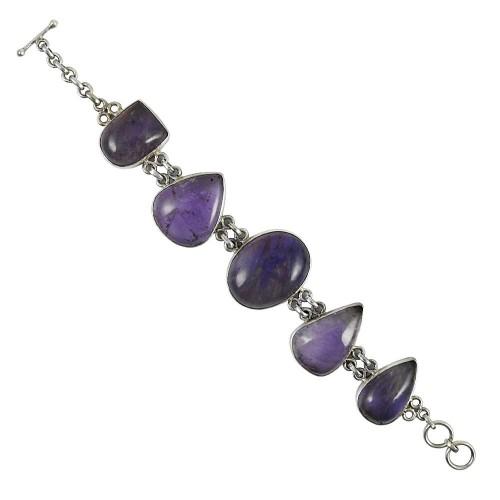 Big Relief Amethyst Gemstone Silver Bracelet Jewelry