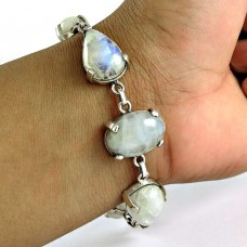 Charming 925 Sterling Silver Rainbow Moonstone Bracelet