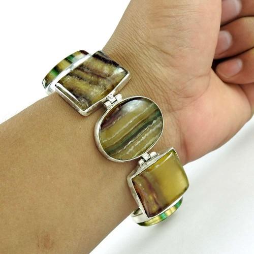 Special Moment Fluorite Gemstone Silver Bracelet Jewelry