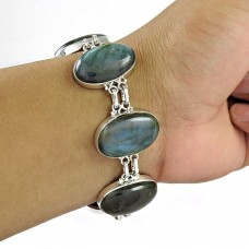 Big Relief Labradorite Gemstone Silver Jewellery Bracelet