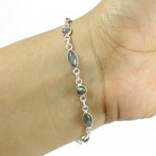 New Fashion ! Labradorite Gemstone Silver Jewelry Bracelet
