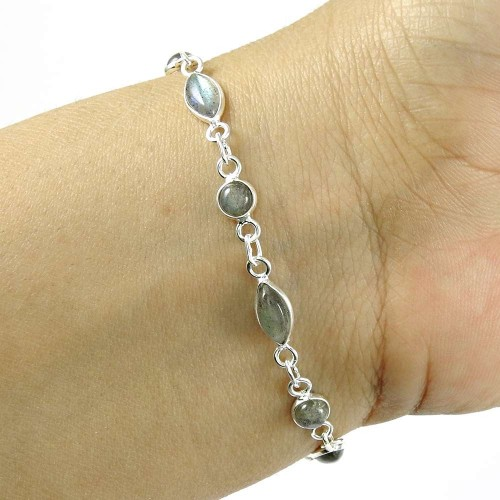 Well-Favoured ! Labradorite Gemstone Silver Jewelry Bracelet