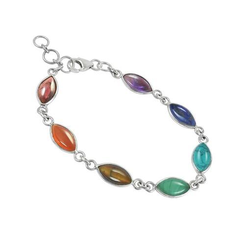 Bloom Fashion Garnet, Carnelian, Tiger Eye, Malachite, Turquoise, Lapis, Amethyst Gemstone 925 Sterling Silver Link and Chain Bracelet