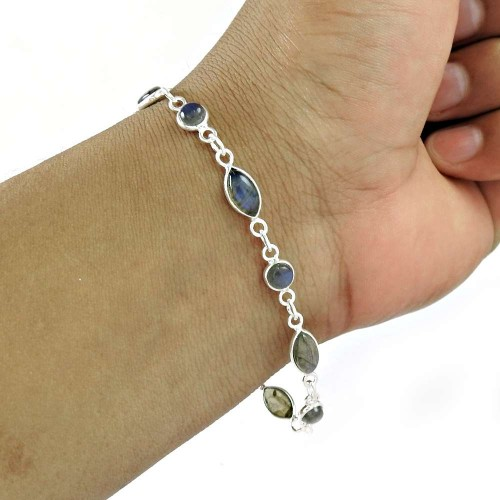 2018 Fashion 925 Sterling Silver Labradorite Gemstone Chain Bracelet