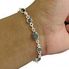 Labradorite Gemstone Bracelet 925 Sterling Silver Women Gift Jewelry Wholesaler
