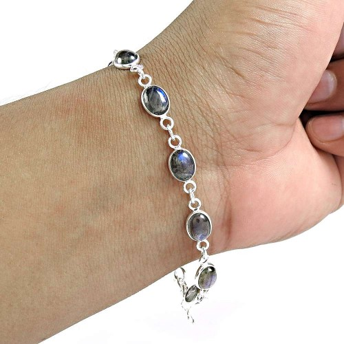 Labradorite Gemstone Bracelet 925 Sterling Silver Ethnic Jewelry