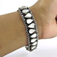 Designer 925 Sterling Silver Glass Gemstone Bracelet Traditional Jewelry