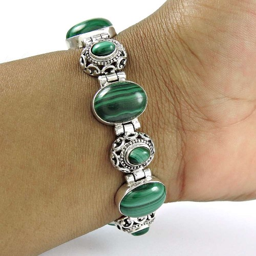 Pretty 925 Sterling Silver Malachite Gemstone Bracelet Jewelry