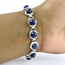Scenic 925 Sterling Silver Lapis Gemstone Bracelet Jewelry