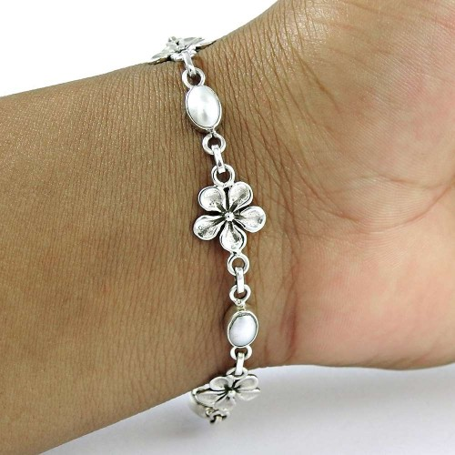 Graceful 925 Sterling Silver Pearl Bracelet Jewelry
