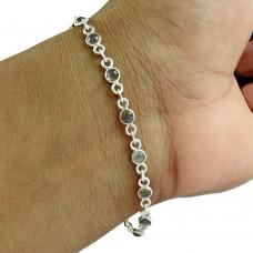Beautiful 925 Sterling Silver Labradorite Gemstone Bracelet Jewelry