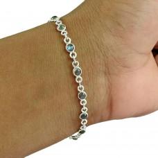 Lovely 925 Sterling Silver Labradorite Gemstone Bracelet Vintage Jewelry
