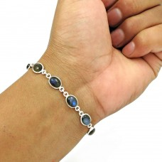 Labradorite Gemstone Bracelet 925 Sterling Silver Ethnic Jewelry BR10