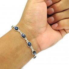 Labradorite Gemstone Bracelet 925 Sterling Silver Vintage Look Jewelry BR11