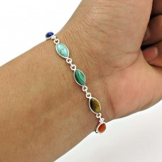 Silver Natural TURQUOISE GARNET CARNELIAN Tiger Eye Chakra Bracelet D1