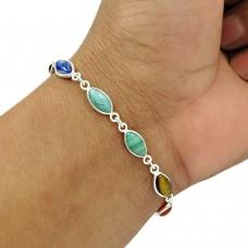 Natural TURQUOISE GARNET CARNELIAN Tiger Eye Chakra Bracelet Silver E1