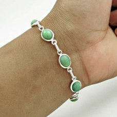 Beautiful 925 Sterling Silver Chrysoprase Gemstone Bracelet Handmade Jewelry A1