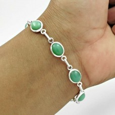 Daily Wear 925 Sterling Silver Chrysoprase Gemstone Bracelet Handmade Jewelry A2