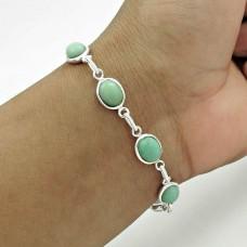 Rare 925 Sterling Silver Chrysoprase Gemstone Bracelet Ethnic Jewelry A3