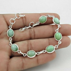 Pleasing 925 Sterling Silver Chrysoprase Gemstone Bracelet Antique Jewelry A6