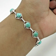 Beautiful 925 Sterling Silver Turquoise Gemstone Bracelet Traditional Jewelry A7