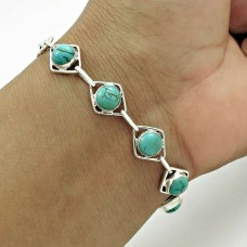 Party Wear 925 Sterling Silver Turquoise Gemstone Bracelet Ethnic Jewelry A8