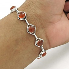 Lovely 925 Sterling Silver Carnelian Gemstone Bracelet Vintage Jewelry A10