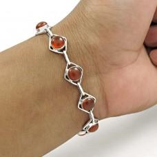 Scenic 925 Sterling Silver Carnelian Gemstone Bracelet Handmade Jewelry A11