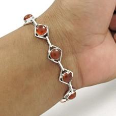 Graceful 925 Sterling Silver Carnelian Gemstone Bracelet Handmade Jewelry A12