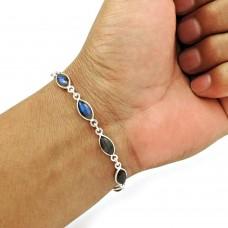 Labradorite Gemstone Bracelet 925 Sterling Silver Vintage Jewelry BR1