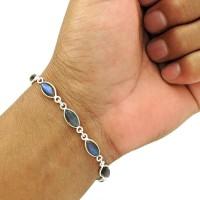 Labradorite Gemstone Bracelet 925 Sterling Silver Ethnic Jewelry BR3