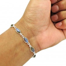Labradorite Gemstone Bracelet 925 Sterling Silver Tribal Jewelry BR6