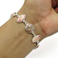 HANDMADE 925 Sterling Silver Jewelry Natural RHODOCHROSITE Gemstone Bracelet AQ8