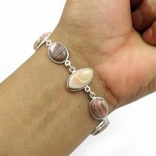 Natural RHODOCHROSITE Gemstone HANDMADE Jewelry 925 Sterling Silver Bracelet AO5