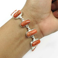 Coral Gemstone Bracelet 925 Sterling Silver Indian Handmade Jewelry C2