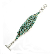 Stylish Design 925 Silver Larimar Bracelet