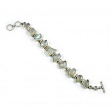Dainty Rainbow Moonstone Sterling Silver Bracelet 925 Sterling Silver Vintage Jewellery