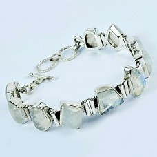 925 Sterling Silver Fashion Jewelry Charming Rainbow Moonstone Bracelet