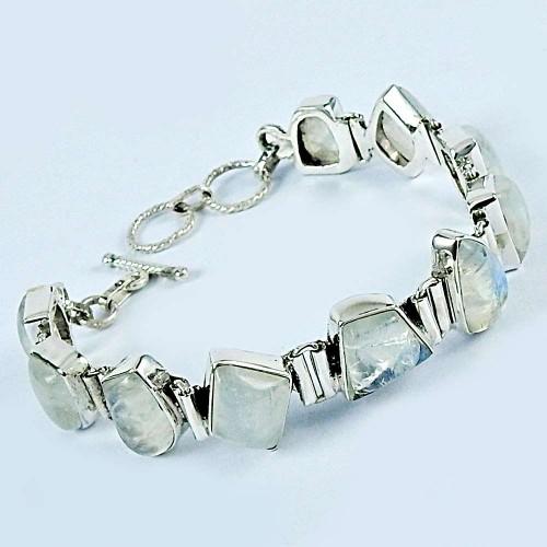 925 Sterling Silver Fashion Jewelry Charming Rainbow Moonstone Bracelet