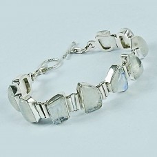 925 Sterling Silver Jewelry Fashion Rainbow Moonstone Bracelet