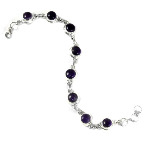 Very Light !! Amethyst 925 Sterling Silver Bracelet Wholesale
