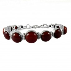 Two Tones Royal Dark !! Carnelian 925 Sterling Silver Bracelet