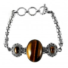 Spectacular Design !! Tiger Eye 925 Sterling Silver Bracelet