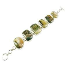 925 Silver Jewelry Ethnic Ocean Jasper Gemstone Bracelet