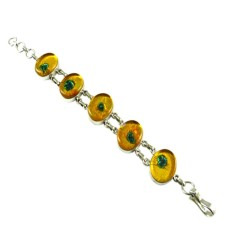 Great Creation !! Dico Glass 925 Sterling Silver Bracelet